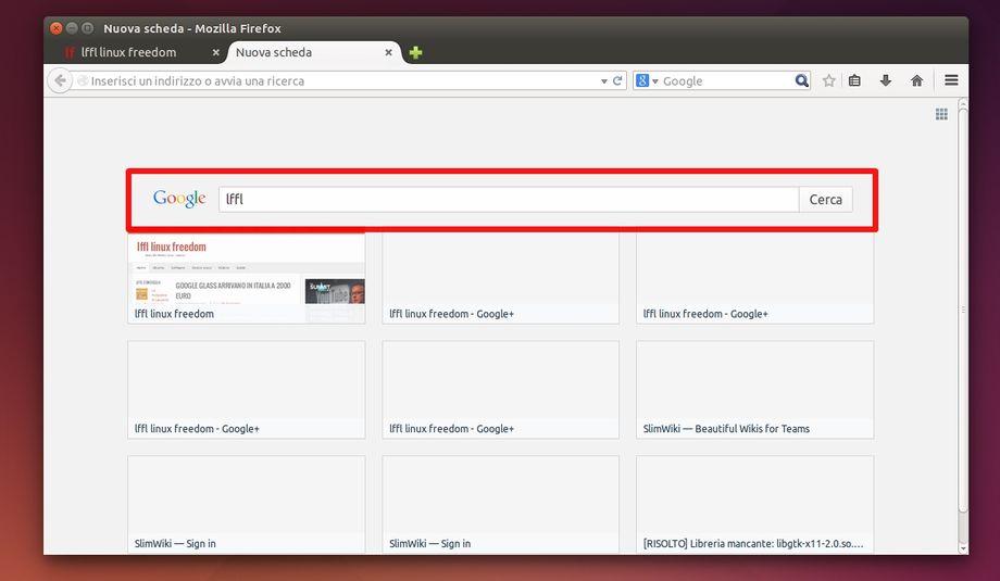 Mozilla Firefox 31 - barra di ricerca nella nuova scheda