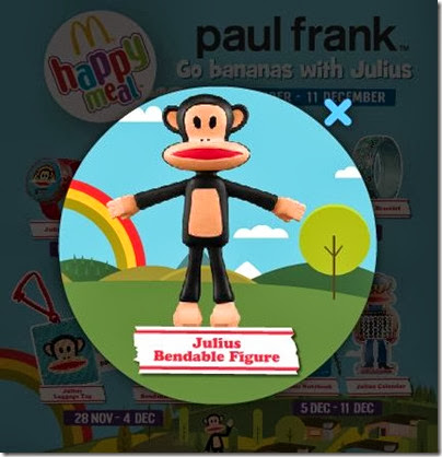 McDonalds happy meal X paul frank - Go Banana with Julius Bendable Figure