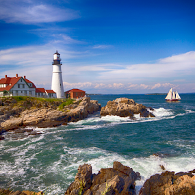 Portland Head Light by Donna Neal - Landscapes Waterscapes ( portland head lighthouse, me, scooner )