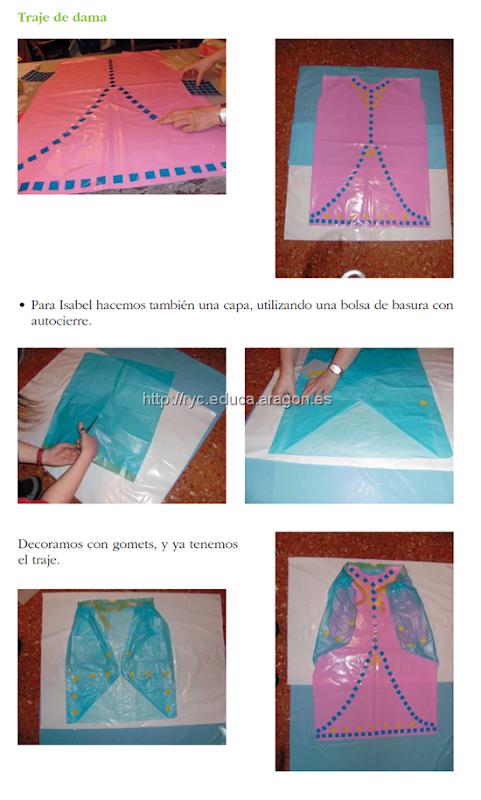 disfraz medieval hecho con bolsas