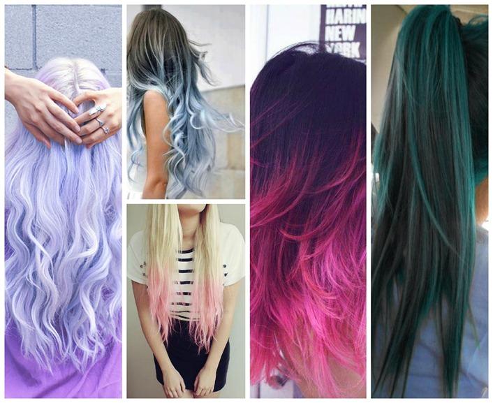 colagem cabelos coloridos