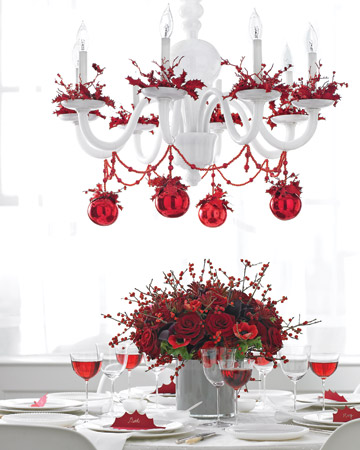 Add a bit of romance to your holiday table with resoundingly red decorations.