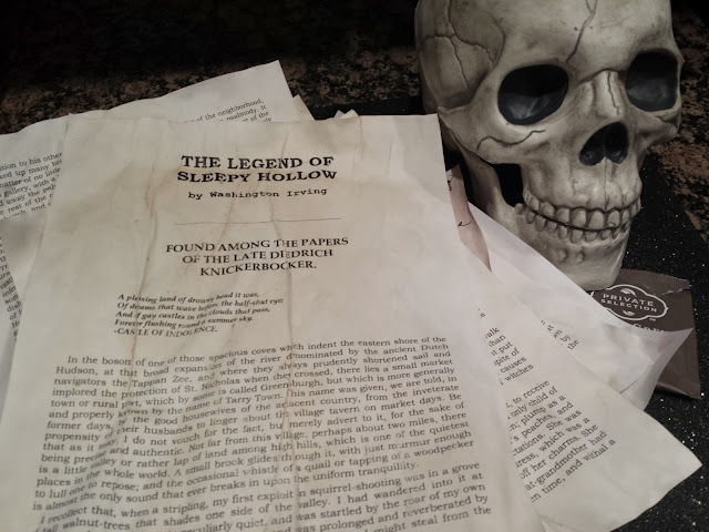 skull and aged Sleepy Hollow text