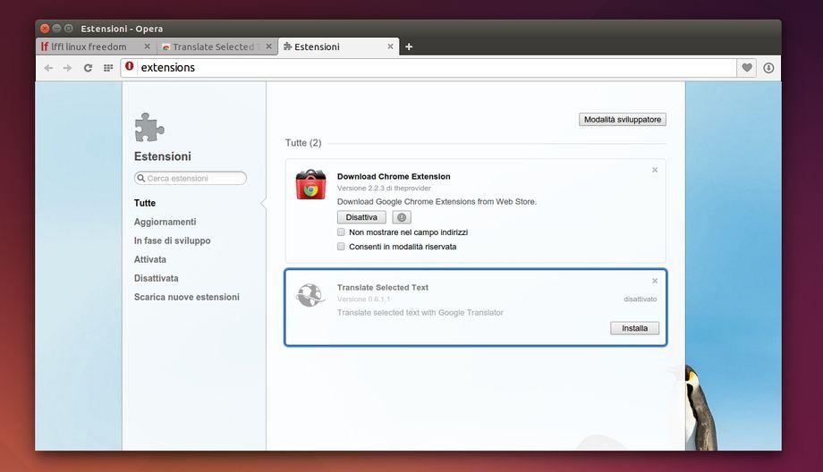 attivare le estensioni di Chrome in Opera Developer
