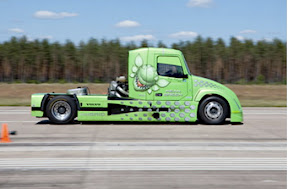 Volvo says that 'Mean Green,' which is already the world's fastest hybrid truck, will attempt to best its own marks with speeds in excess of 165 mph (260 kph) on April 27 at Wendover Airfield in Utah. The Volvo-built hybrid holds records in the standing 500 meter (one-third mile), standing kilometer (two-thirds mile) and flying kilometer, Volvo says, in accordance with international speed standards.