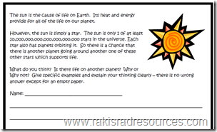 Do you believe in aliens?  why or why not?  Free Writing Prompt for elementary school - Raki's Rad Resources