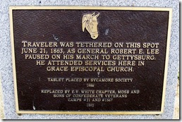 Marker in Berryville, VA about where Traveler tied