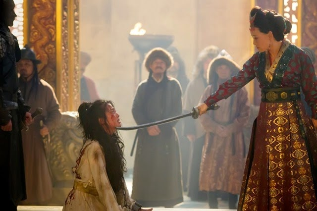 "Olivia Cheng (L) and Joan Chen (R) in a scene from Netflix's ""Marco Polo."" Photo Credit: Phil Bray for Netflix."
