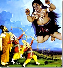 [Rama and Lakshmana slaying Tataka]
