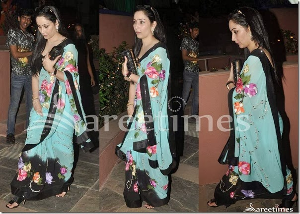 Blue_Black_Embroidery_Printed_Saree