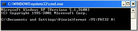 Finestra DOS aperta con il comando cmd