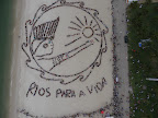 Nearly 1500 people used Rios Flamengo Beach as a canvas on June 19, 2012. Their bodies formed the lines of an enormous image promoting the importance of free-running rivers, truly clean energy sources like solar power and including indigenous knowledge as part of the solution to climate issues. The activity was led by Brazils many indigenous peoples organized under the umbrella of the Articulation of Brazilian Indigenous Peoples. Spectral Q/Chico/Paulo
