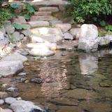 岩がどれくらい水に浸っているかで水量を図っているとのこと