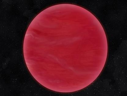 ilustração de uma anã marrom com céu vermelho