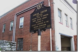Duncan Tavern at the corner of the Tavern Property behind courthouse