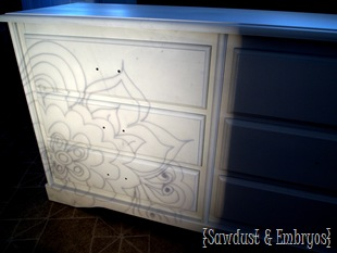 Draw or trace a design onto a transparency for perfectly painted designs on furniture! {Sawdust and Embryos