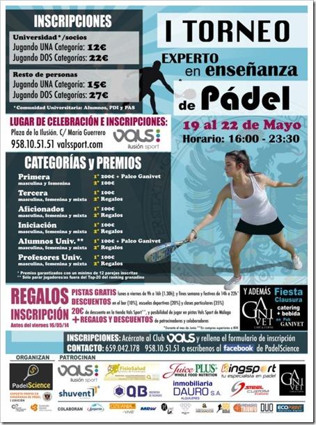 I Torneo Experto en Enseñanza de Pádel del 19 al 22 de mayo 2014 en ValsSport, Granada.º
