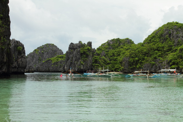 Tour boats moored in the lagoons off El Nido, Philippines