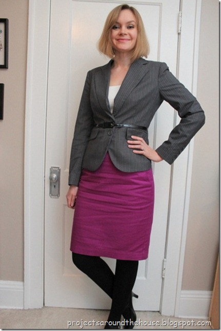 belted gray blazer, pink skirt