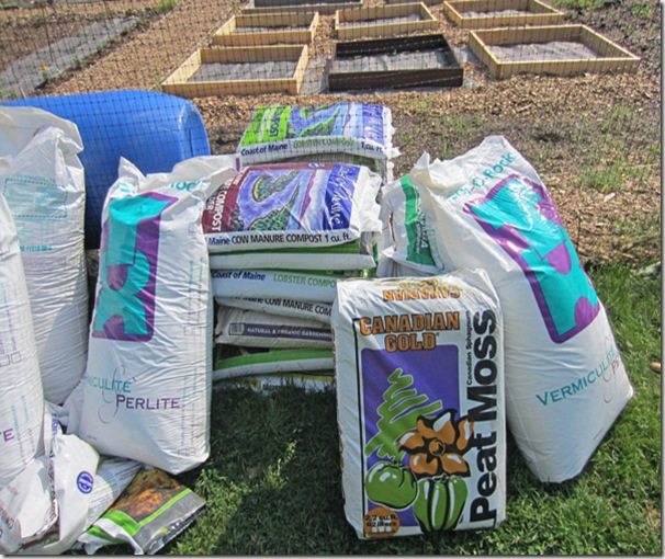 The three components of Mel's Mix: compost, peat and vermiculite