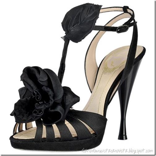 rene caovilla black satin sandal