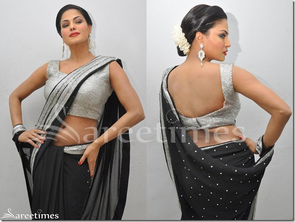 Veena_Malik_Black_Embroidery_Saree