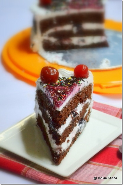 Easy black forest cake blog recipe singapore chocolate spoonge cake cream frosting