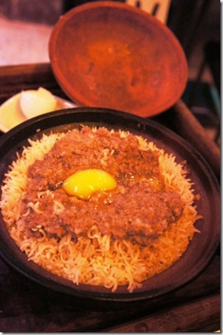 Minced meat pot rice assembled in front of you
