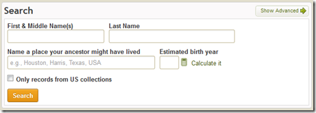 The Ancestry.com home page search form