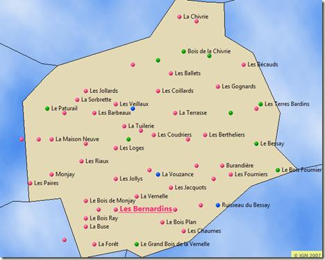 cartes des lieux-dits de Neuilly-en-Donjon