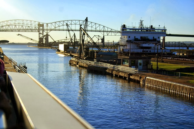 This Soo lock is now open & level with Lake Superior