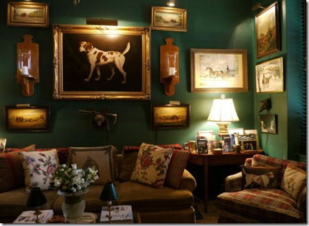 horse-dog-framed-prints-wall-gallery-green-painted-walls-decor-plaid-chair-decorating-traditional-home-room-ideas