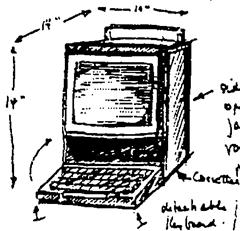 Návrh Alana Kaye na tzv. KiddyKomp z roku 1971. Podobnost s Macintoshem z roku 1984 (včetně rukojeti) čistě náhodná? Kliknutím si zobrazíte první Mac.