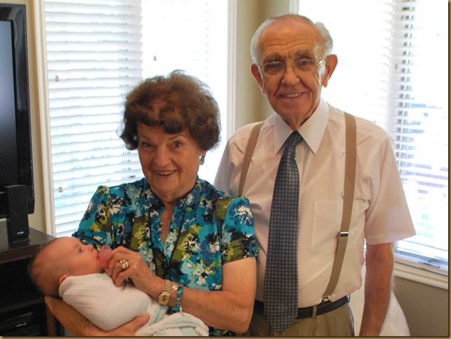 Grandma and Grandpa Pedersen with Claire