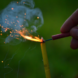 by Austin Gosch - Novices Only Objects & Still Life ( firecracker, hands, fireworks, sparks, fire )