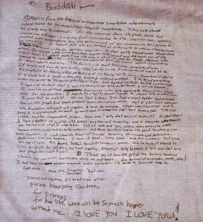 Carta de suícidio de Kurt Cobain
