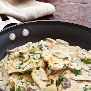 Turkey Scallopine in Sherry Cream Sauce with Wild Mushrooms and Artichoke Hearts