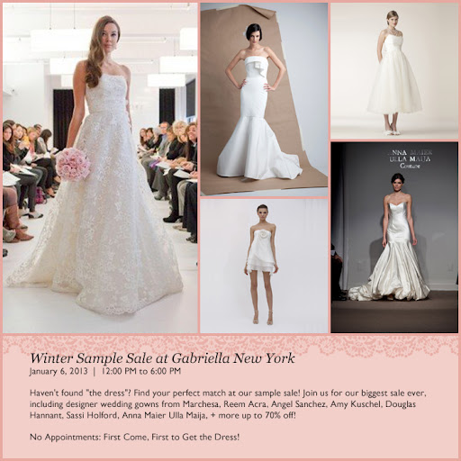 All the details for Gabriella New York Bridal Salon's Winter Sale!
