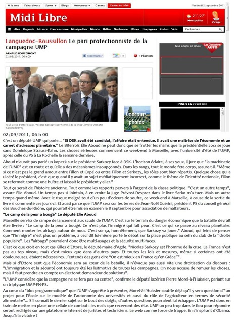 Midi Libre presenta la novèla politica de l'UMP en Lengadòc