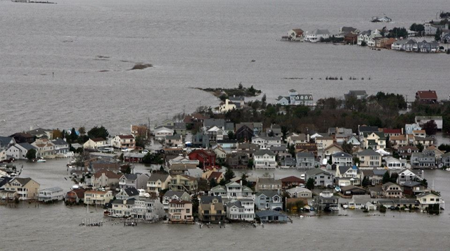 Aerial view of flooding on the New Jersey shore after Hurricane Sandy. Photo: Tim Larsen / New Jersey Governor's Office