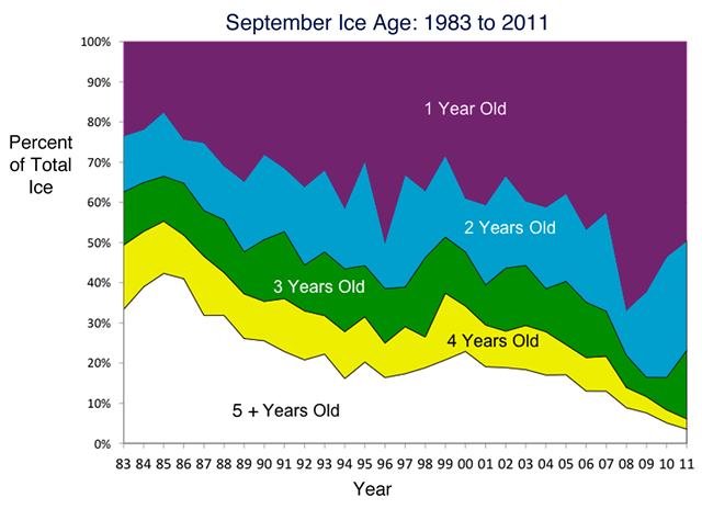 Age of Arctic Sea Ice, 1983-2011. Data on ice age show that coverage of the oldest, thickest ice types (ice four years or older) has declined over the past 28 years. National Snow and Ice Data Center courtesy J. Maslanik, C. Fowler, and M. Tschudi, U. Colorado Boulder