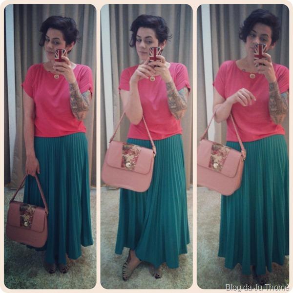look saia plissada  blusa rosa