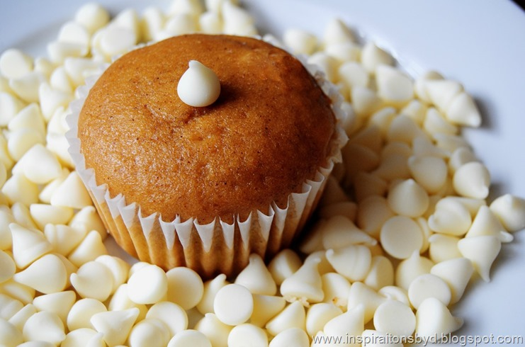 white chocolate pumpkin muffin