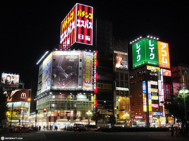 beautiful view of kabukicho's entrance by night in Kabukicho, Tokyo, Japan