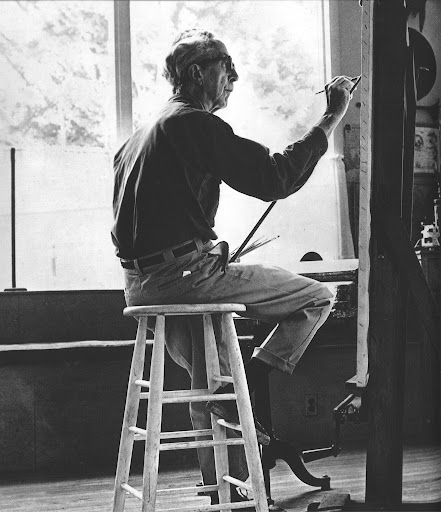 A photograph of Rockwell in his studio in 1970.