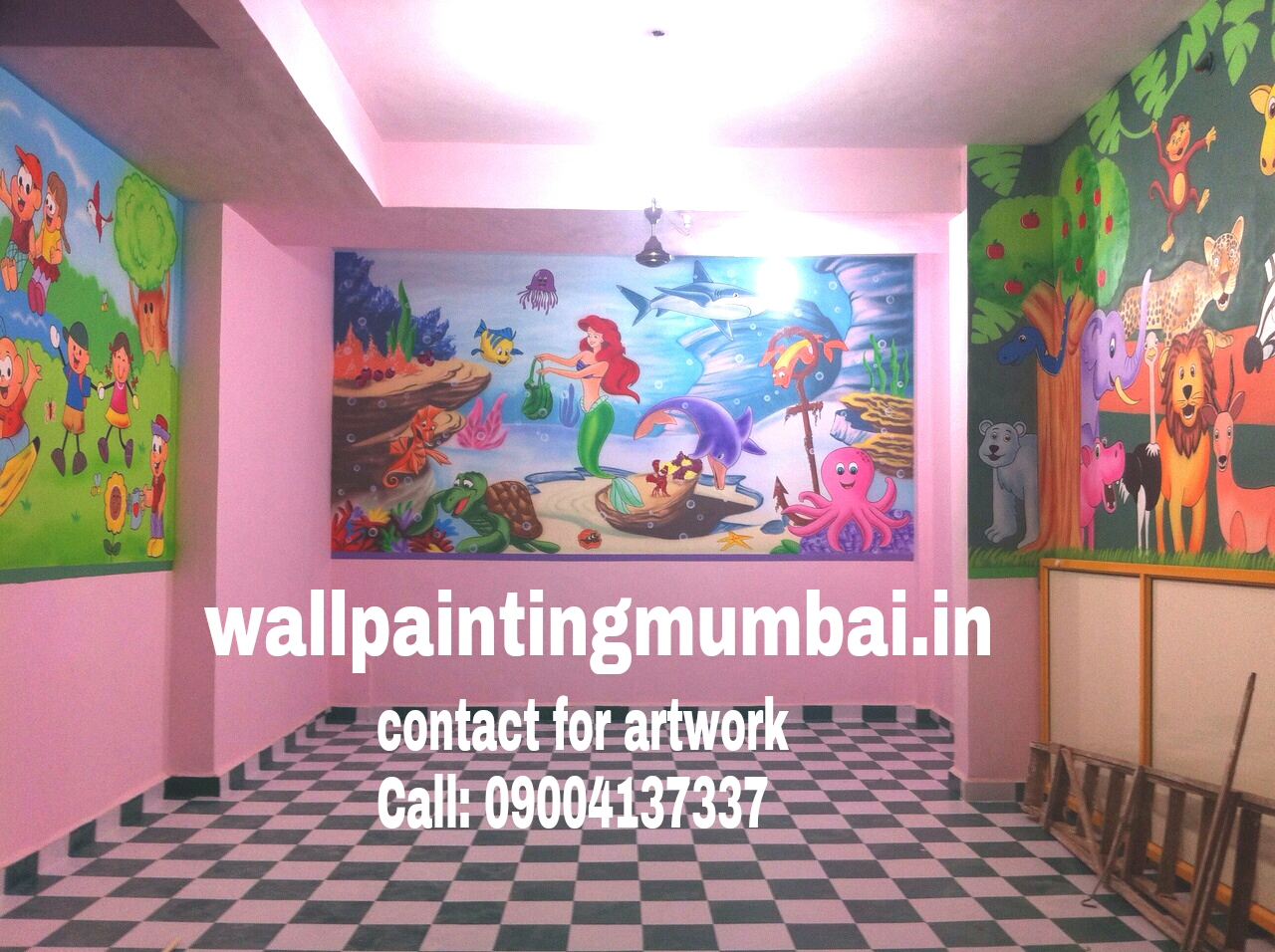 Play school wall painting playschool or preschool for Classroom wall mural