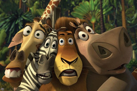 (Left to right) Melman the giraffe (CHRIS ROCK), Marty the zebra (CHRIS ROCK), Alex the lion (BEN STILLER) and Gloria the hippo (JADA PINKETT SMITH) would rather hang up when they hear the call of the wild in DreamWorks Animation's computer-animated comedy MADAGASCAR. <br /><br />Photo: Courtesy DreamWorks Animation<br /><br />