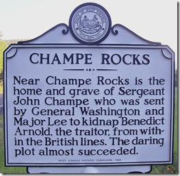 Champe Rocks marker in Pendleton County, WV (Click any photo to Enlarge)