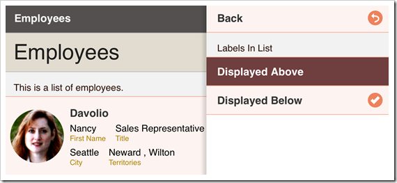 """Selecting """"Displayed Above"""" for Labels in List option."""