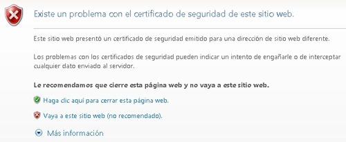 Problema con el certificado de seguridad de este sitio web